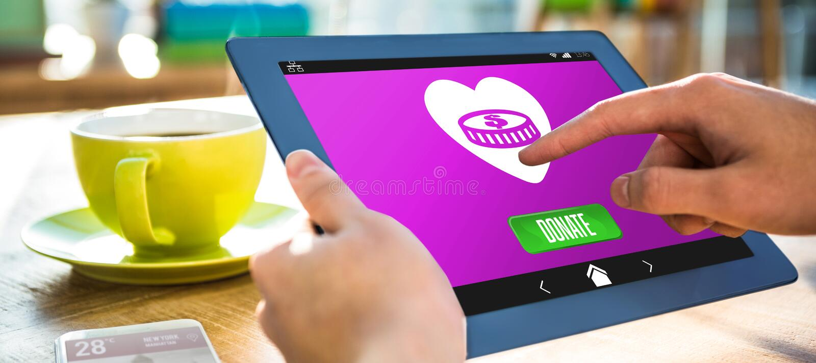 Composite image of icon of donation. Vector icon of donation against cropped image of hipster businessman using tablet royalty free stock photography