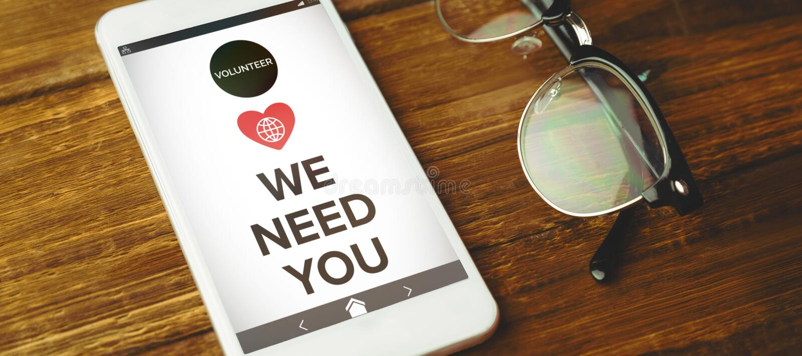Composite image of image of we need you text with icons stock illustration