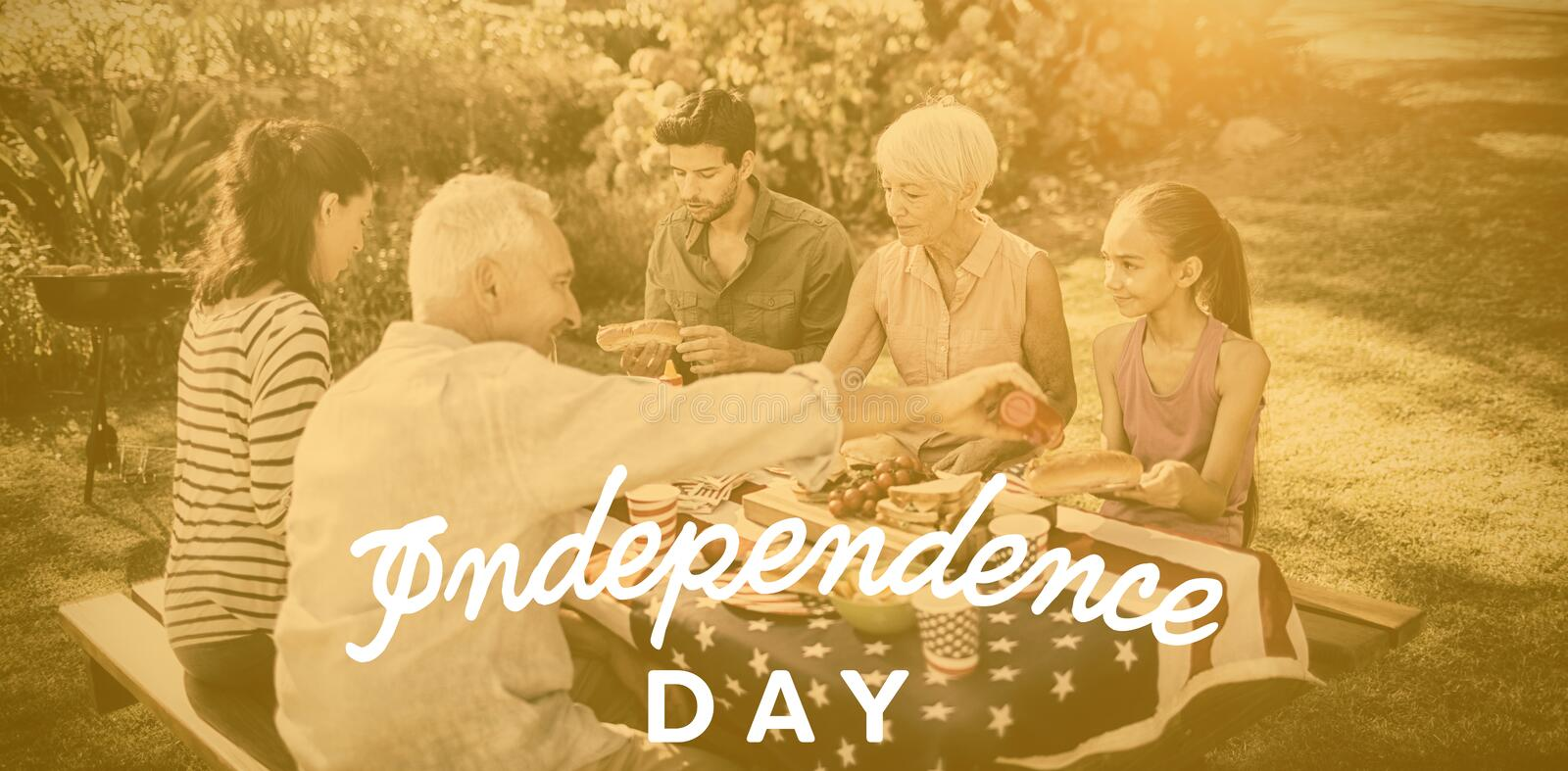 Composite image of independence day text against white background stock illustration