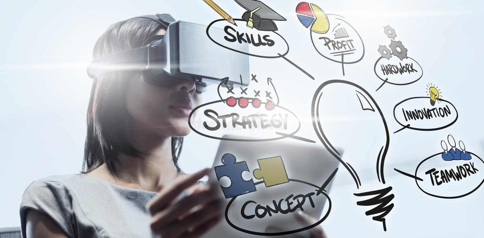 Composite image of innovation concpet. Innovation concpet against businesswoman looking her tablet while using a virtual glasses vector illustration