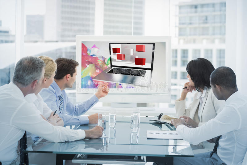 Composite image of a laptop with graphic background. A laptop with graphic background against business people looking at blank whiteboard in conference room royalty free illustration