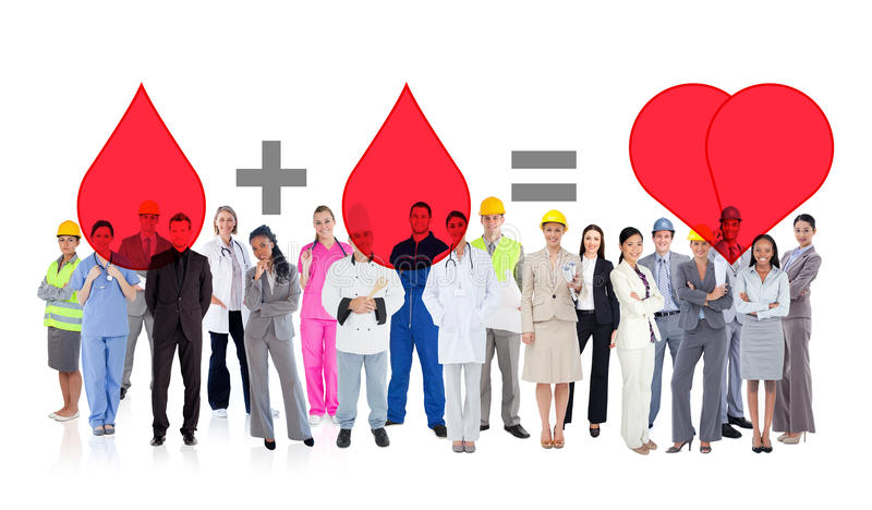 Composite image of large diverse group of workers stock images