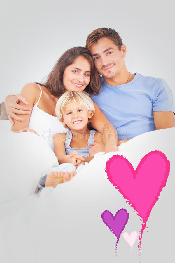 Composite image of lovely family embracing vector illustration