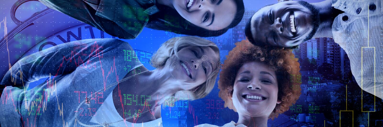 Composite image of low angle portrait of smiling business people standing royalty free stock photos
