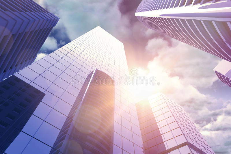 Composite image of low angle view of skyscrapers in city. Low angle view of skyscrapers in city against view of overcast against blue sky stock illustration