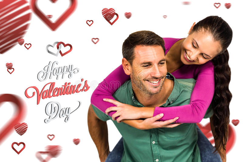 Composite image of man with piggy back to his girlfriend royalty free stock photo