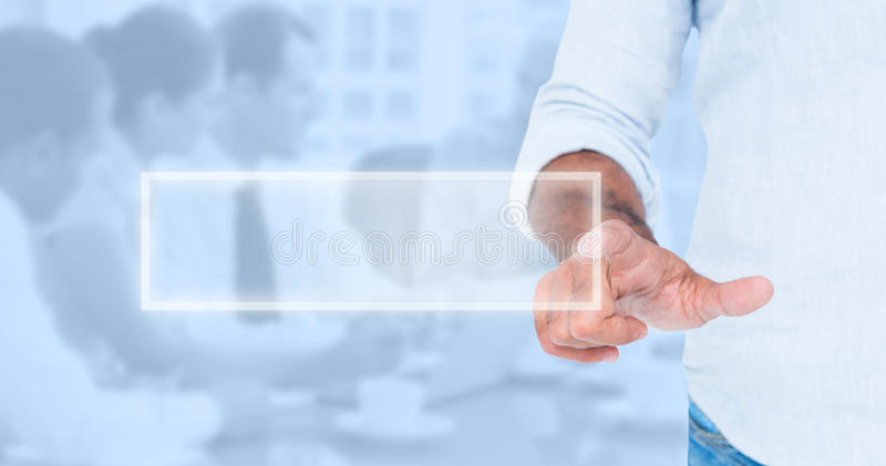 Composite image of man pointing something with his finger royalty free stock images