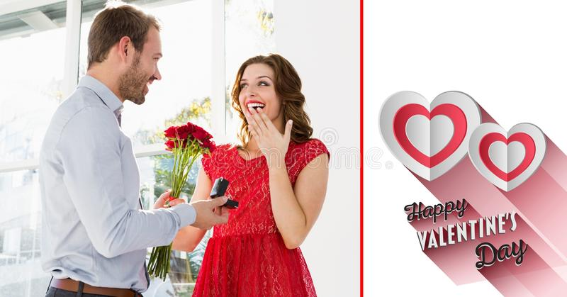 Composite image of man proposing woman royalty free stock photography