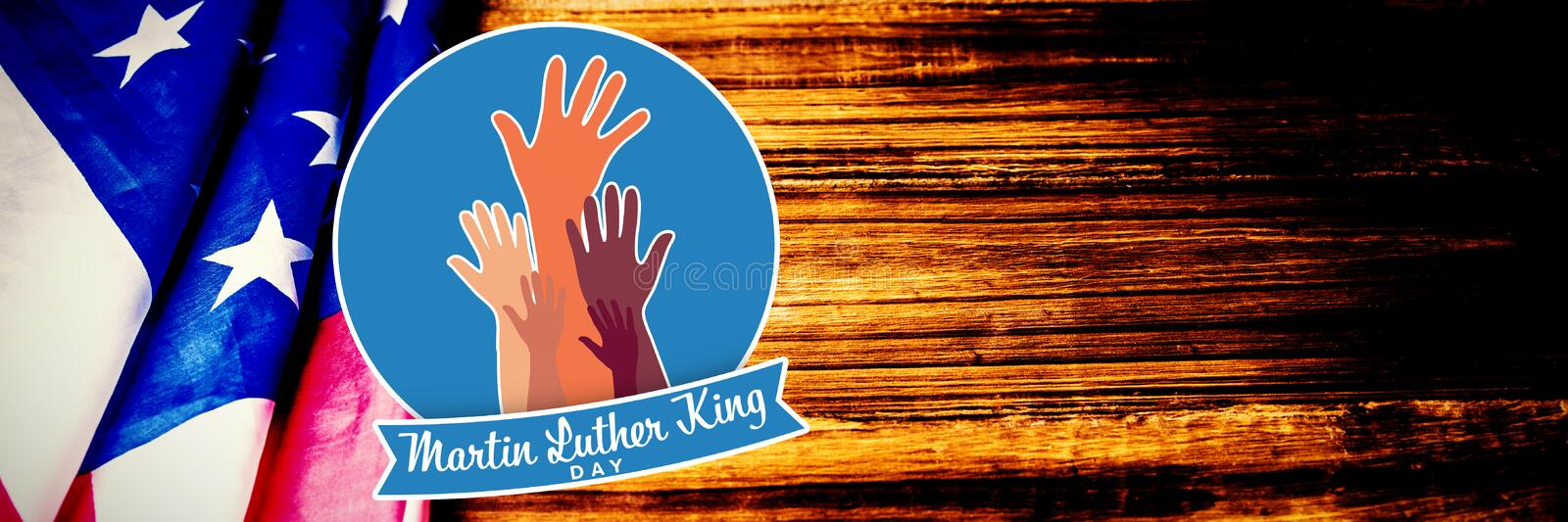 Composite image of martin luther king day with hands. Martin Luther king day with hands against usa flag on table stock photography