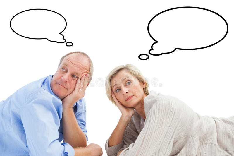 Composite image of mature couple lying and thinking vector illustration