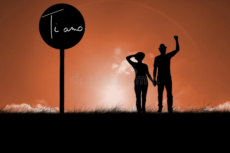Composite image of mature couple walking and holding hands stock photography
