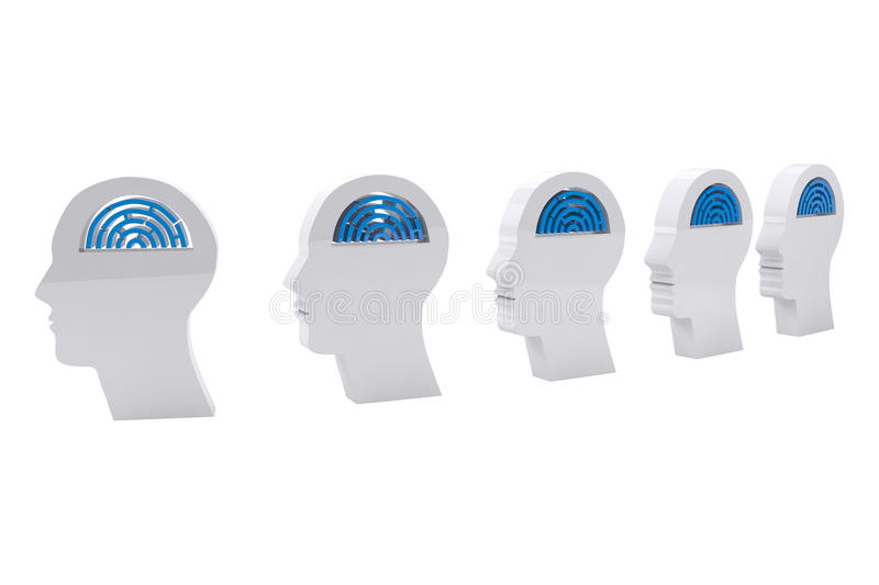 Composite image of maze brains in side profile heads stock illustration