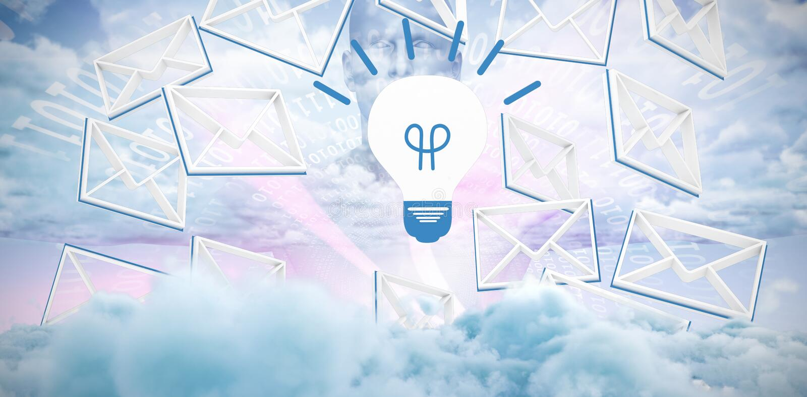 Composite image of message symbol around the light bulb sign royalty free illustration