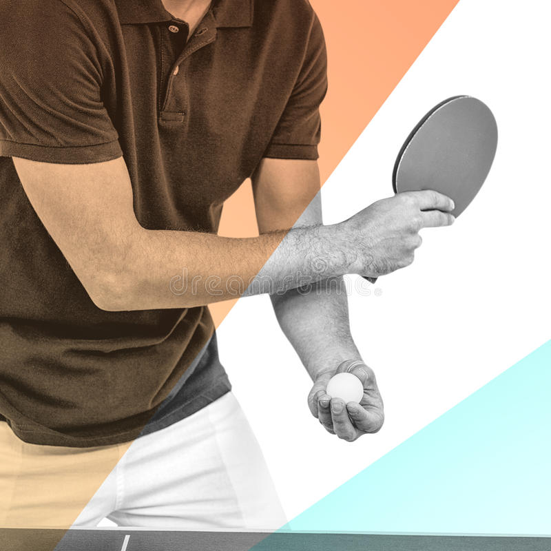 Composite image of mid section of athlete man playing table tennis stock photos