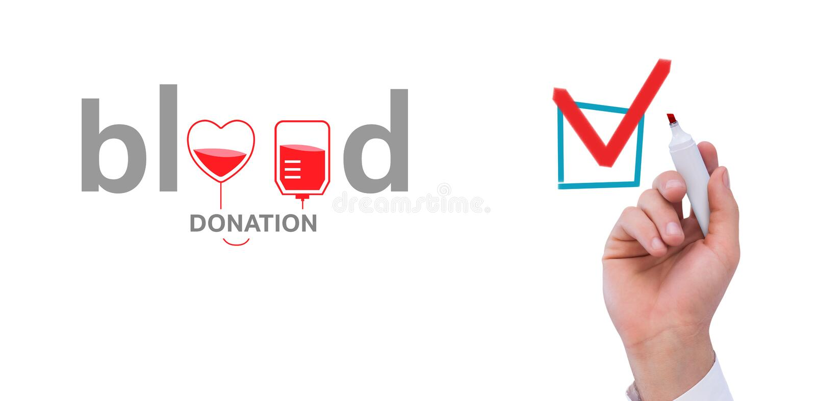 Composite image of mid section of businessman writing with marker. Mid section of businessman writing with marker against blood donation royalty free illustration
