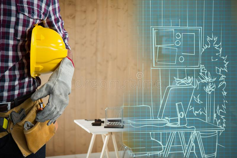 Composite image of mid-section of construction worker royalty free stock image