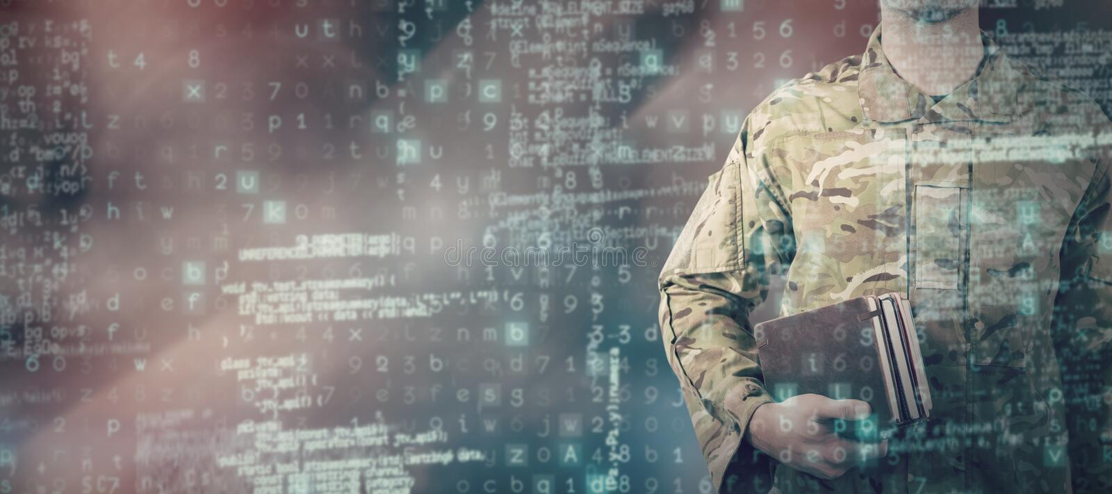Composite image of mid section of soldier holding books stock images