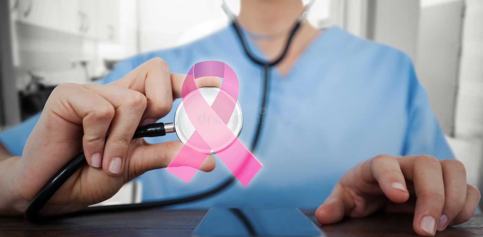 Composite image of midsection of female doctor examining mobile phone with stethoscope stock images