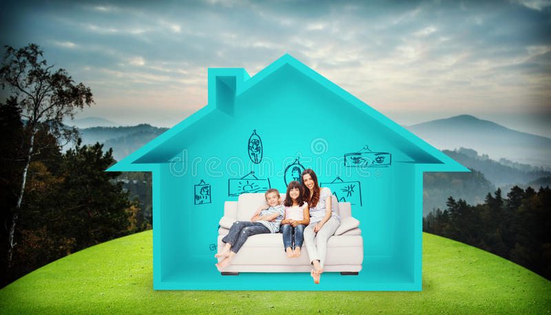 Composite image of mother with their children sitting on sofa royalty free stock photo