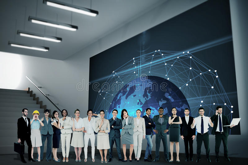 Composite image of multiethnic business people standing side by side stock photos
