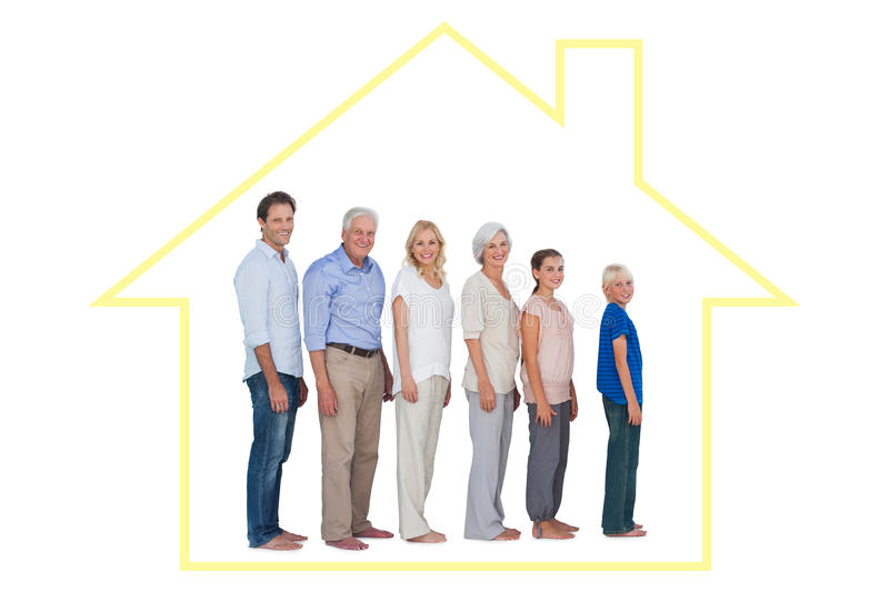 Composite image of multigeneration family posing together and looking at camera. Multigeneration family posing together and looking at camera against house stock illustration