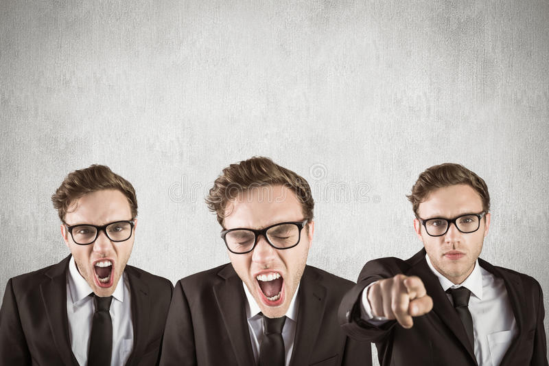 Composite image of nerdy businessman shouting. Nerdy businessman shouting against white and grey background stock photos