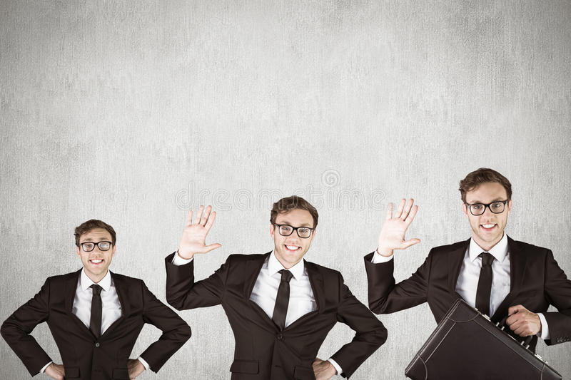 Composite image of nerdy businessman waving. Nerdy businessman waving against white and grey background royalty free stock photo