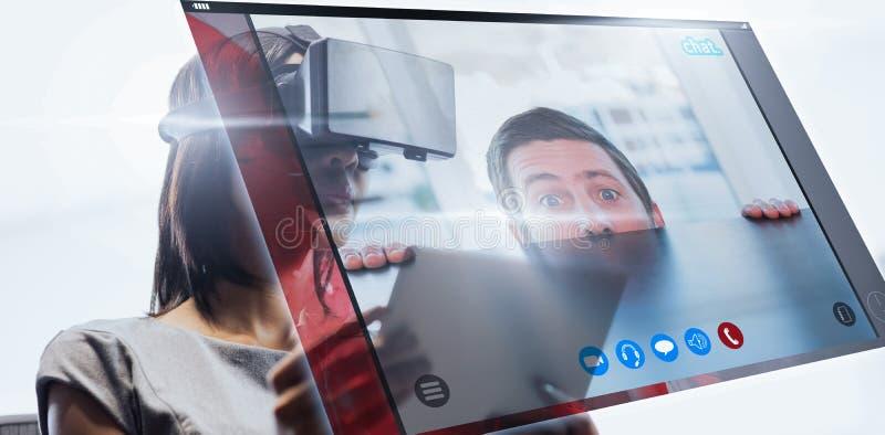 Composite image of nervous businessman peeking over desk stock images