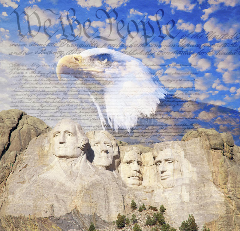 Free Composite Image Of Mount Rushmore, Bald Eagle, U.S. Constitution, And Blue Sky With White Clouds Royalty Free Stock Photo - 52313845
