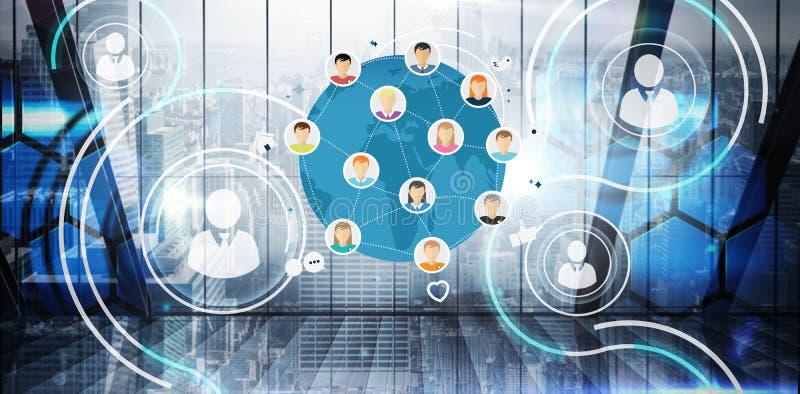 Composite image of online community stock illustration