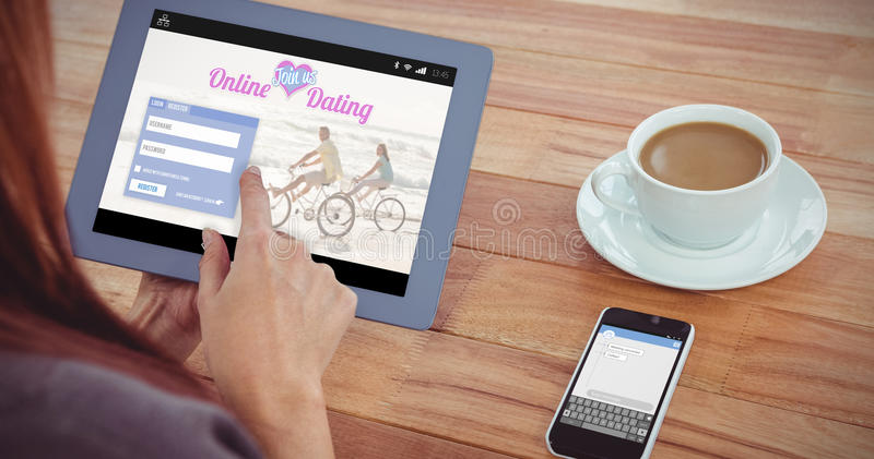 Composite image of online dating app. Online dating app against over shoulder view of hipster women using tablet stock photography