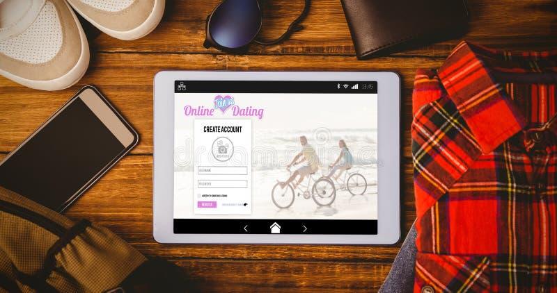 Composite image of online dating app. Online dating app against tablet shirt jean shoes smartphone wallet and bag stock image