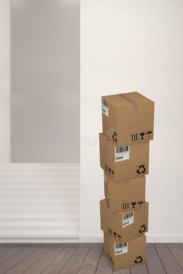 Composite image of packed brown cardboard boxes on white background. Packed brown cardboard boxes on white background against staircase amdist wall vector illustration