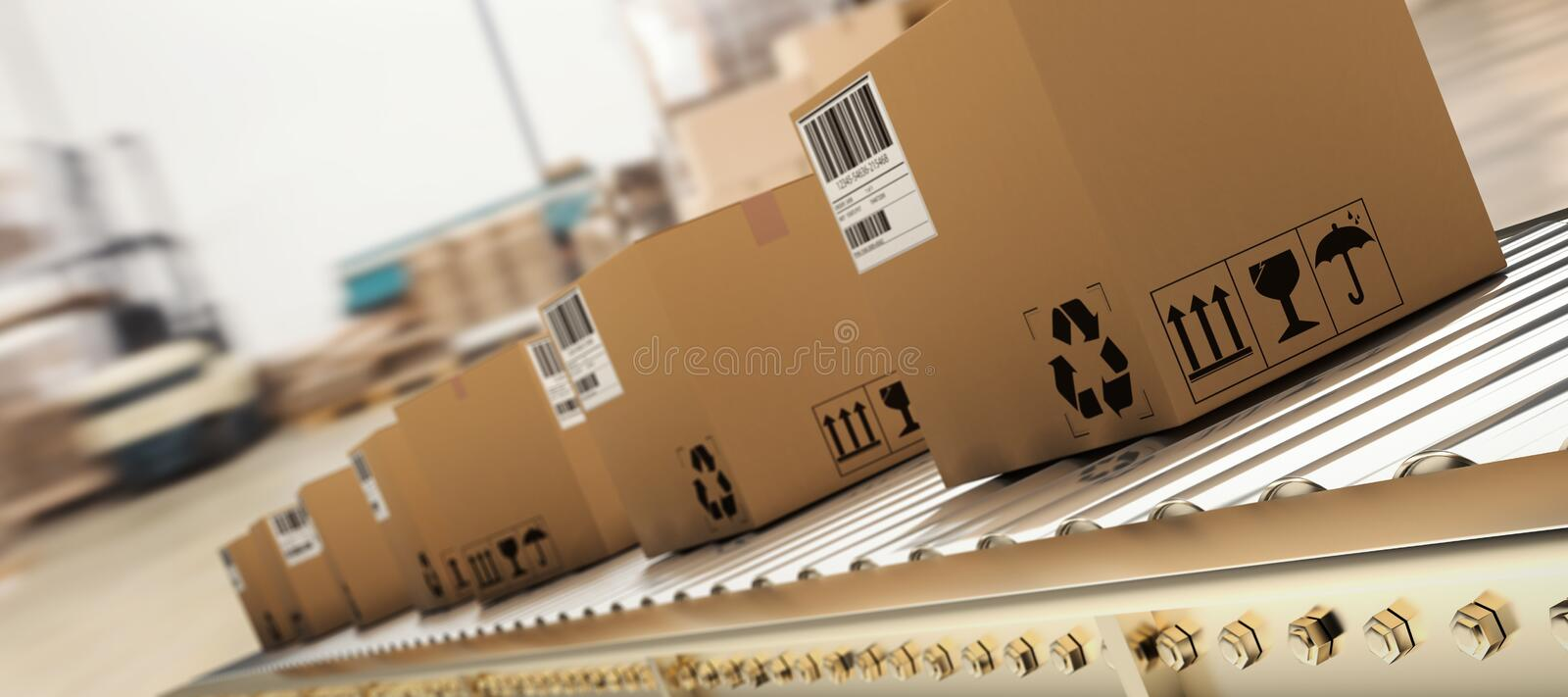 Composite image of packed courier on production line. Packed courier on production line against cardboard boxes in warehouse stock illustration