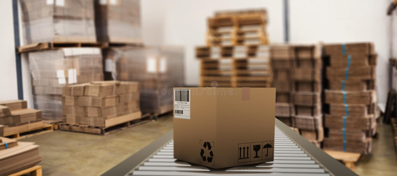 Composite image of packed parcel box on conveyor belt. Packed parcel box on conveyor belt against many stack of cardboard boxes royalty free illustration