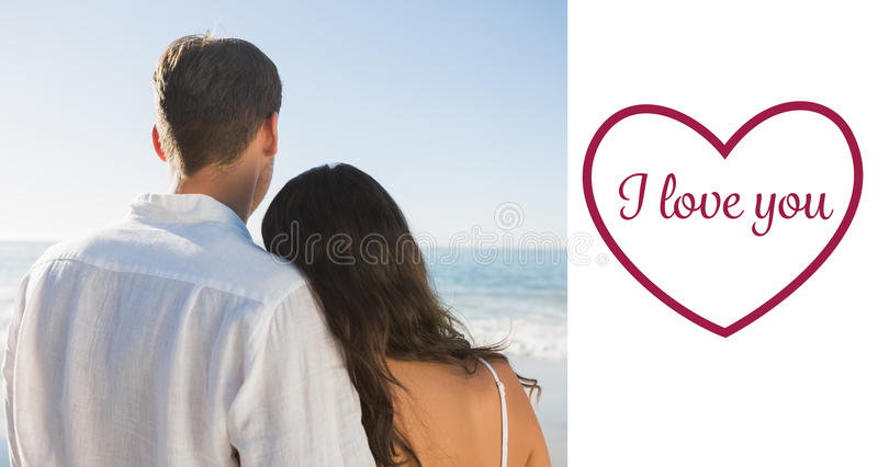 Composite image of peaceful couple looking at the ocean vector illustration
