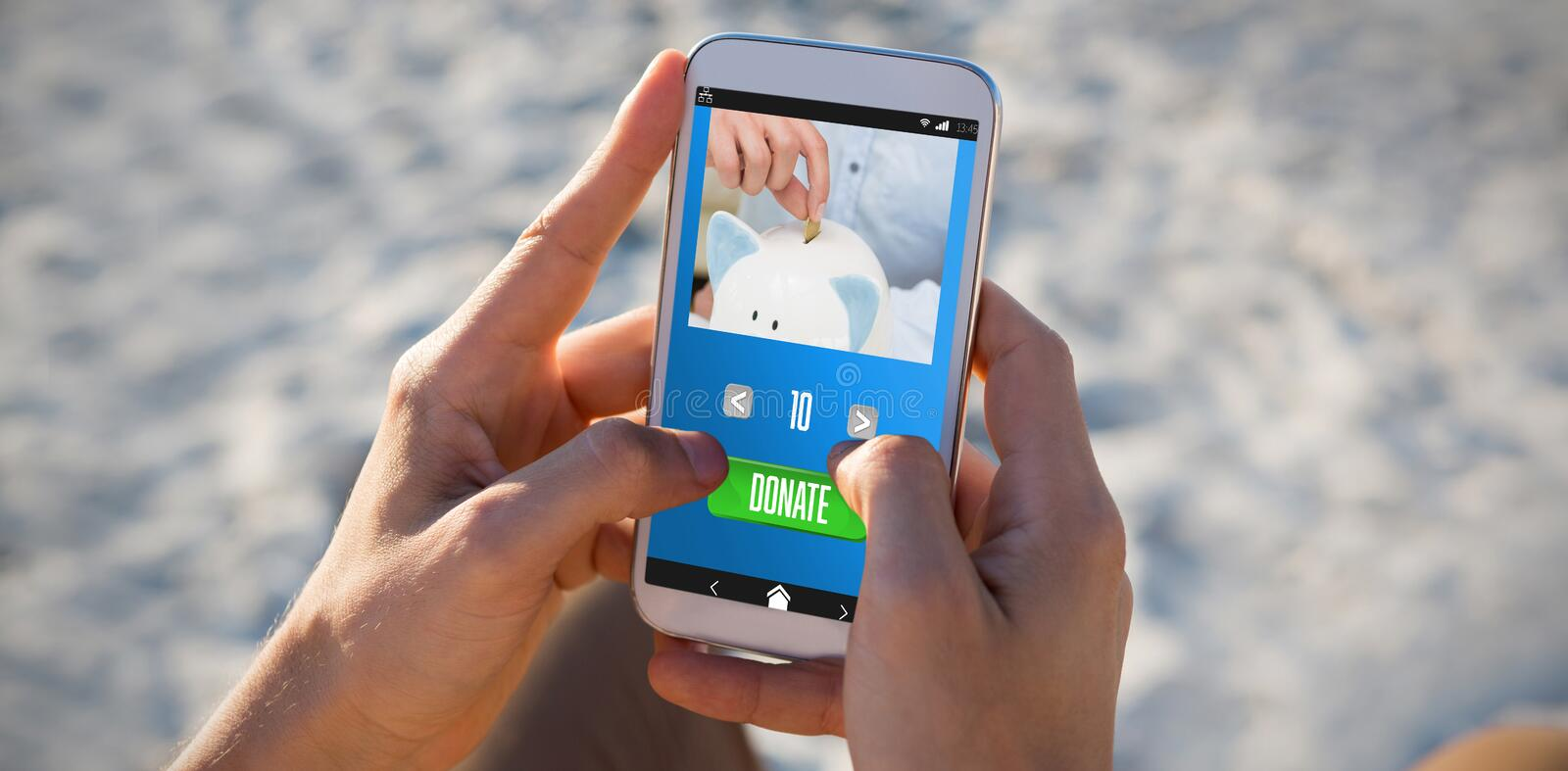 Composite image of person putting coin in piggy bank royalty free stock image