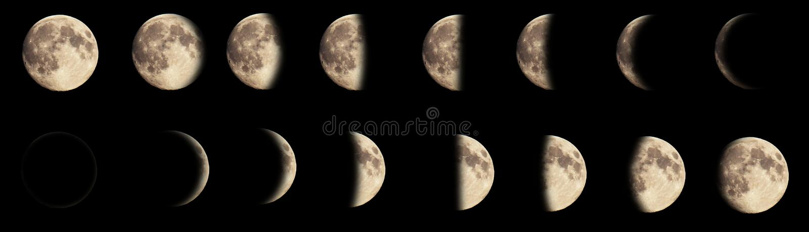 Composite image of the phases of the moon stock photography