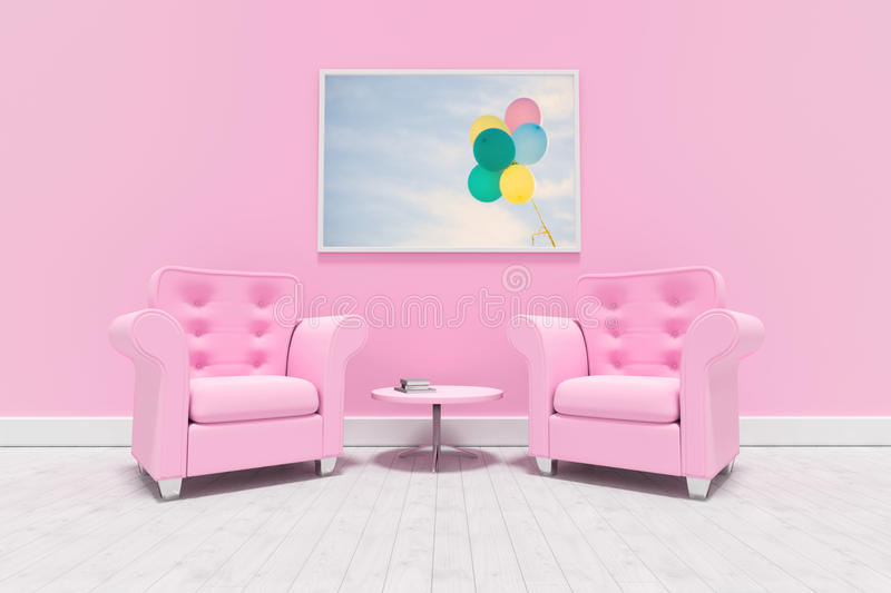 Composite image of pink armchairs against blank picture frame royalty free stock images