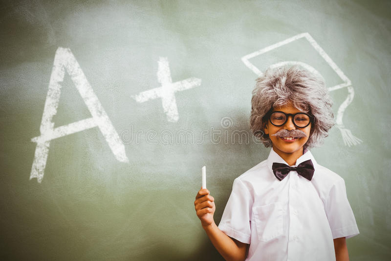 Composite image of a plus grade. A plus grade against boy dressed as senior teacher in front of blackboard royalty free illustration