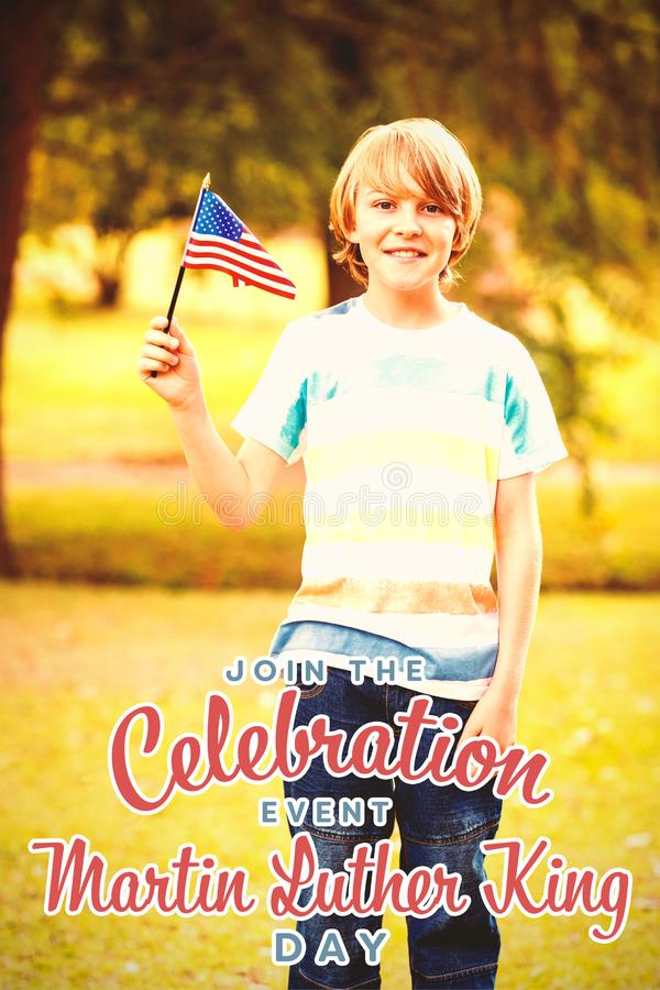 Composite image of portrait of boy with american flag. Portrait of boy with American flag against join the celebration event martin luther king day royalty free stock image