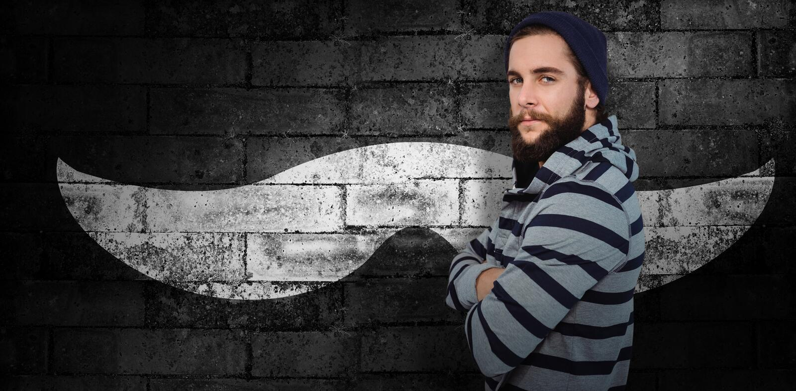 Composite image of portrait of confident hipster with hooded shirt stock illustration