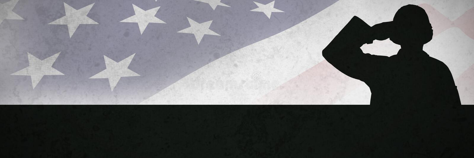 Composite image of portrait of confident soldier giving salute. Portrait of confident soldier giving salute against grey background stock image
