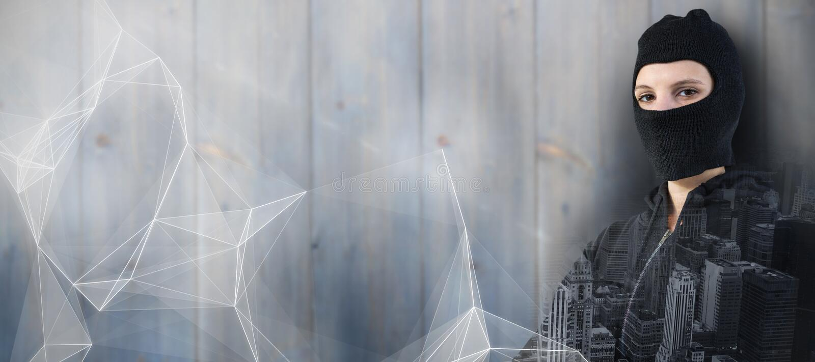 Composite image of portrait of female hacker standing with arms crossed stock photos