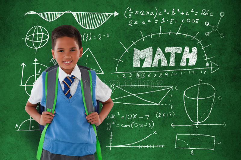 Composite image of portrait of schoolboy carrying schoolbag against white background stock illustration