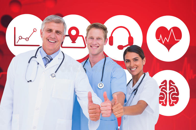 Composite image of portrait of smiling doctors with thumbs up. Portrait of smiling doctors with thumbs up against dna helix in blue and red with ecg line royalty free stock image