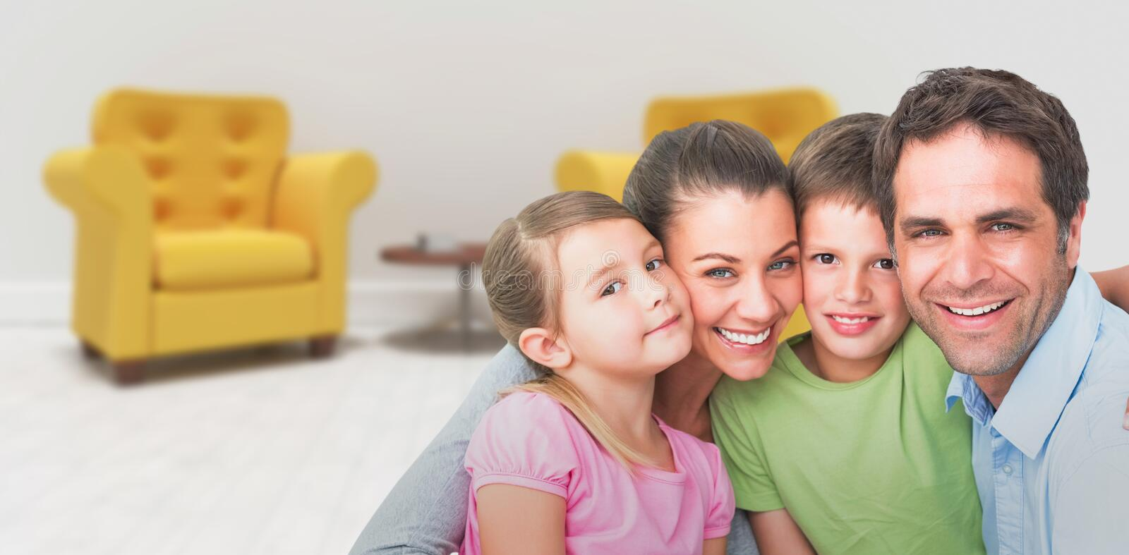 Composite image of portrait of smiling family stock photography