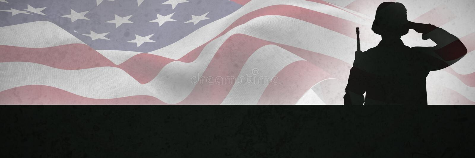 Composite image of portrait of soldier holding rifle and saluting. Portrait of soldier holding rifle and saluting against grey background stock photography