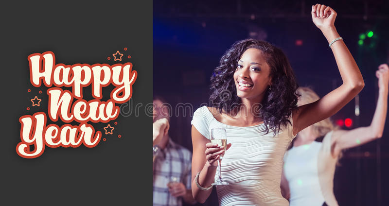 Composite image of portrait of woman holding champagne flute while dancing vector illustration