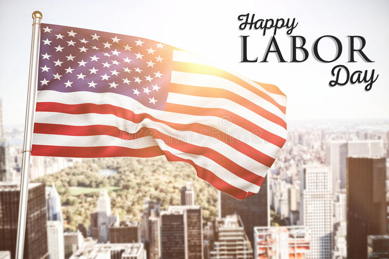 Composite image of poster of happy labor day text stock image